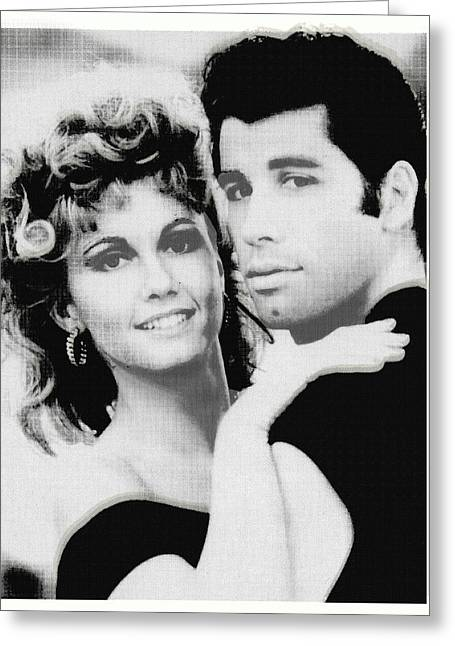 1950s Music Greeting Cards - Olivia Newton John and John Travolta in Grease Collage Greeting Card by Tony Rubino