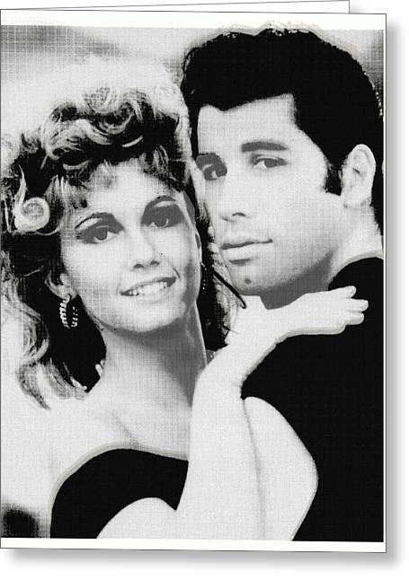 Olivia Newton John And John Travolta In Grease Collage Greeting Card by Tony Rubino
