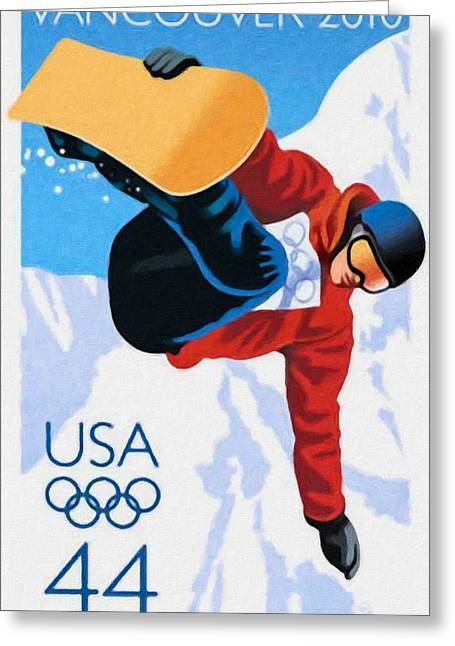 Slalom Skiing Print Greeting Cards - Olympic Winter Games Greeting Card by Lanjee Chee