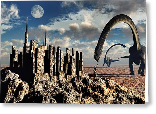 Archaeology Sculpture Greeting Cards - Omeisaurus Dinosaurs Come Into Contact Greeting Card by Stocktrek Images