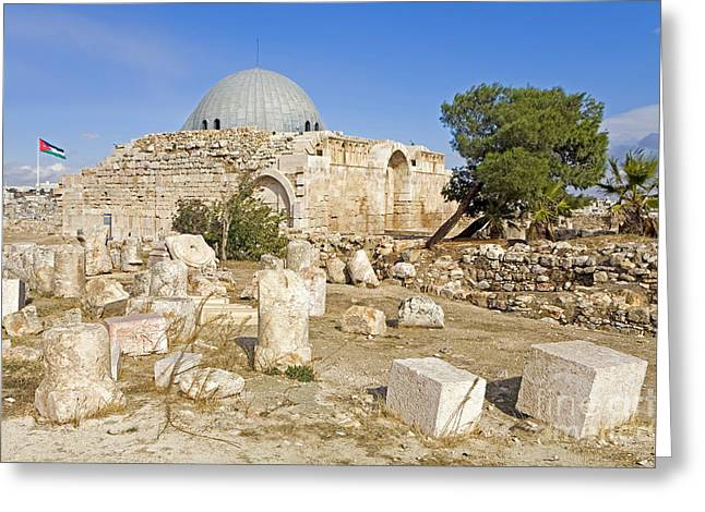 Historic Site Greeting Cards - Omeyyade Palace, Amman, Jordan Greeting Card by Adam Sylvester
