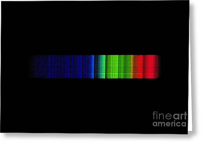 Absorb Photographs Greeting Cards - Omicron Ceti Emission Spectrum Greeting Card by Dr Juerg Alean