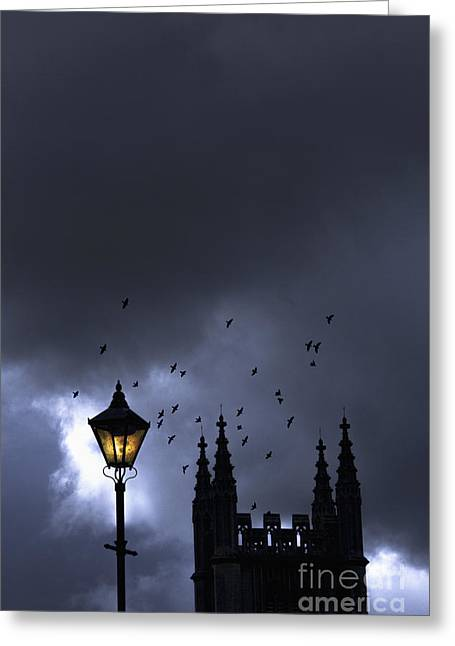 Night Lamp Greeting Cards - On A Cold Dark Night Greeting Card by Margie Hurwich