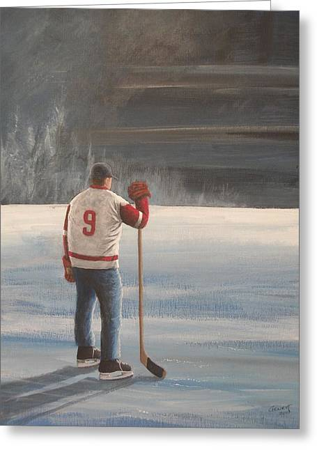 On Frozen Pond - Gordie Greeting Card by Ron  Genest