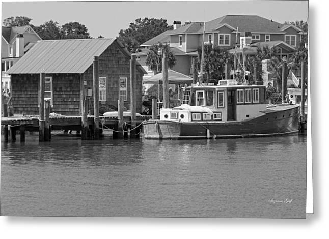 Fishing Creek Greeting Cards - On Shem Creek Greeting Card by Suzanne Gaff