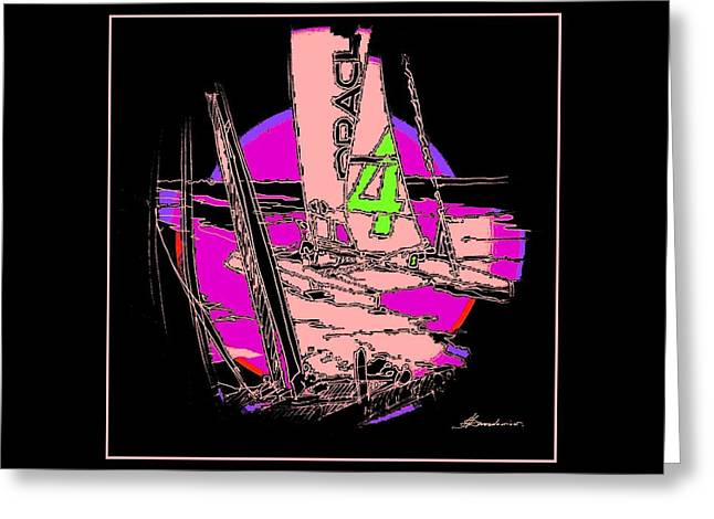 Yachting Mixed Media Greeting Cards - On The Bay 3 Greeting Card by Andrew Drozdowicz
