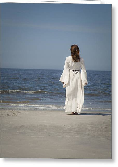 Pensive Greeting Cards - On the beach Greeting Card by Maria Heyens