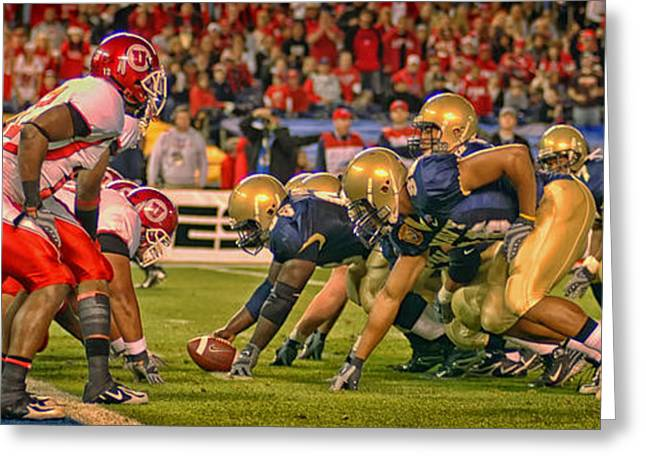 Goal Line Greeting Cards - On the Goal Line - Notre Dame vs Utah Greeting Card by Mountain Dreams