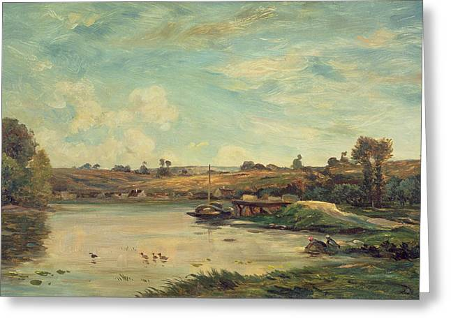 River Paintings Greeting Cards - On The Loire Greeting Card by Charles Francois Daubigny