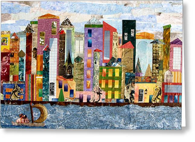 City Buildings Mixed Media Greeting Cards - On the Waterfront Greeting Card by Barbara Kinnick