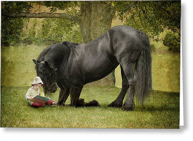 Black Horses Greeting Cards - Once Upon A Time Greeting Card by Fran J Scott