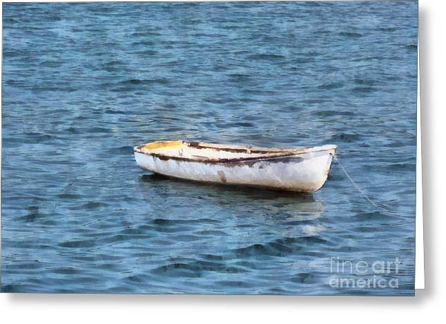 New England Marina Park Greeting Cards - One Little Dinghy Greeting Card by Helene Guertin