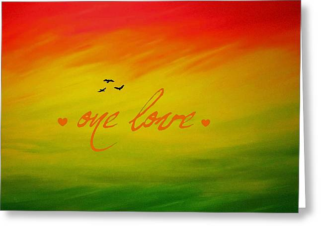 Recently Sold -  - Abstract Digital Paintings Greeting Cards - One Love Greeting Card by Cyryn Fyrcyd