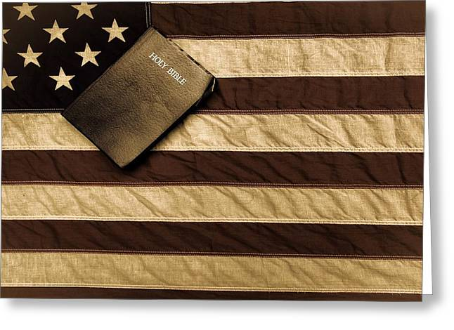Conservative Greeting Cards - One Nation Under God Greeting Card by Flora Ehrlich