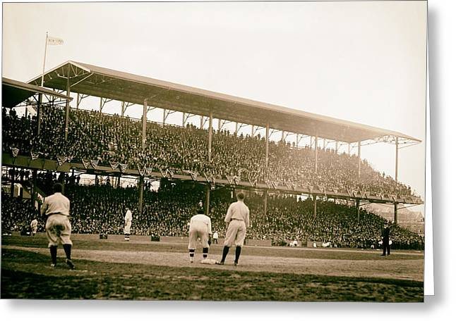 Baseball Game Greeting Cards - Opening Day at Griffith Stadium - Washington DC 1922 Greeting Card by Mountain Dreams