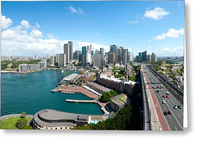 Ocean Art Photography Greeting Cards - Opera House With City Skyline, Sydney Greeting Card by Panoramic Images