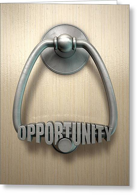 Lease Greeting Cards - Opportunity Knocks Door Knocker Greeting Card by Allan Swart
