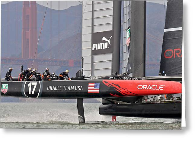 San Francisco Bay Greeting Cards - Oracle Americas Cup Winner Greeting Card by Steven Lapkin