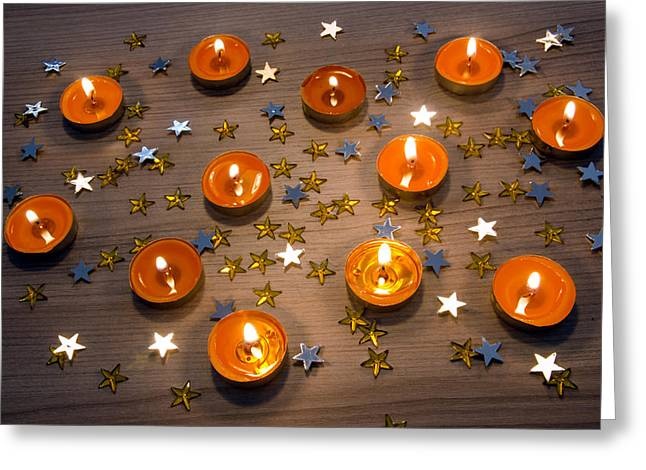 Orange Ball Greeting Cards - Orange Candles Greeting Card by Carlos Caetano