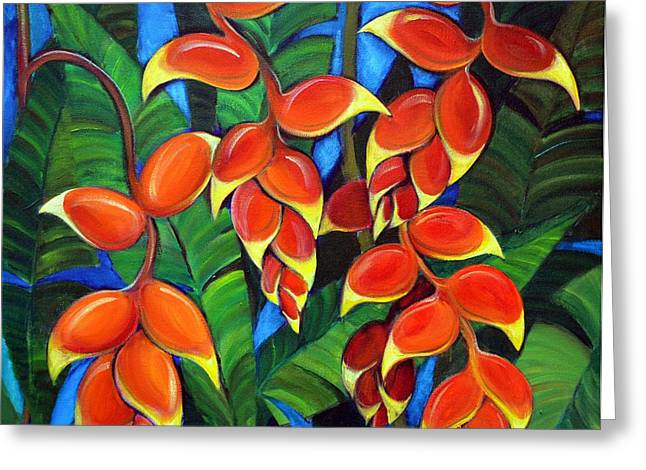 Heliconia Greeting Cards - Orange Heliconia Greeting Card by Jerri Grindle