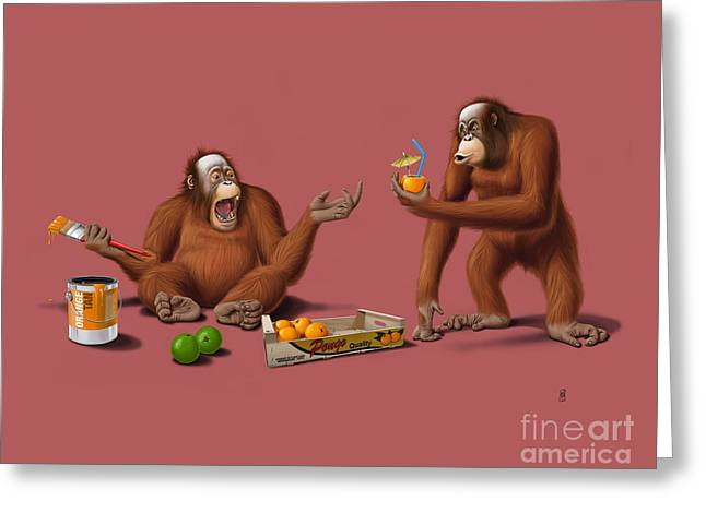 Monkeys Greeting Cards - Orange Man Greeting Card by Rob Snow