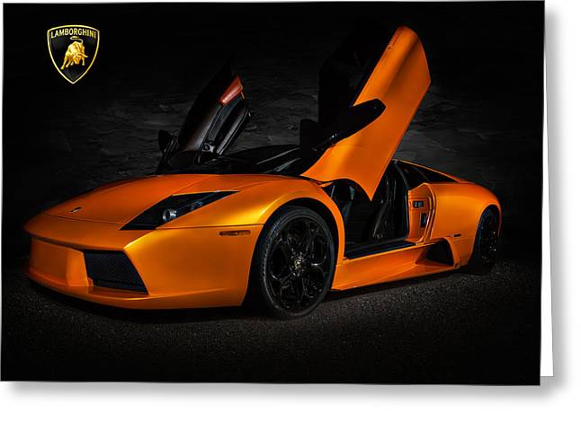 Sportscar Greeting Cards - Orange Murcielago Greeting Card by Douglas Pittman