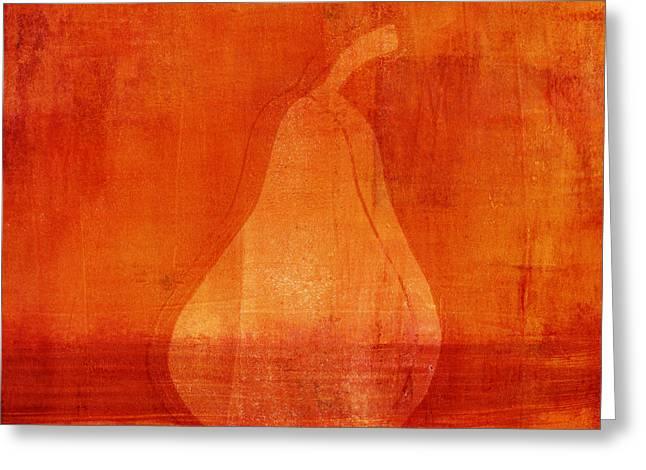 Painterly Mixed Media Greeting Cards - Orange Pear Monoprint Greeting Card by Carol Leigh