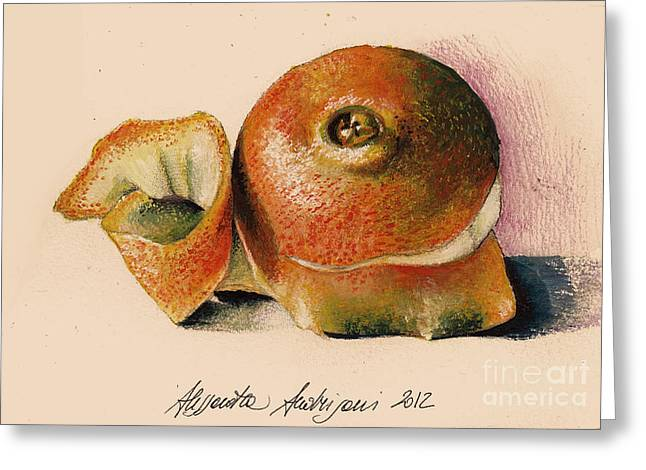 Painted Recipes Greeting Cards - Orange..Navel Greeting Card by Alessandra Andrisani