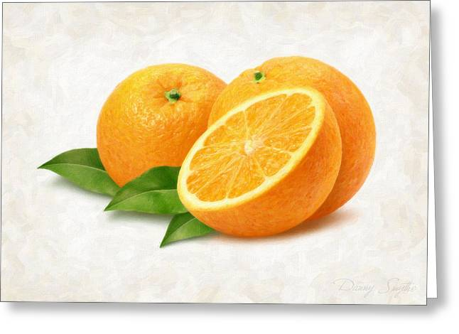 Single Object Paintings Greeting Cards - Oranges Greeting Card by Danny Smythe