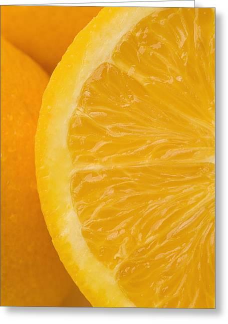Orange. Greeting Cards - Oranges Greeting Card by Darren Greenwood
