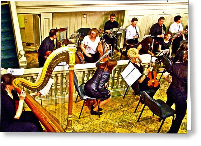 Orchestra Pit Greeting Cards - Orchestra Tuning Up in the Pit in Hermitage Theatre in Saint Petersburg-Russia  Greeting Card by Ruth Hager