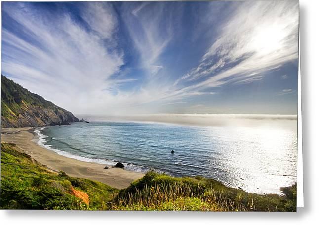 Foggy Ocean Greeting Cards - Oregon Coastline Greeting Card by Debra and Dave Vanderlaan