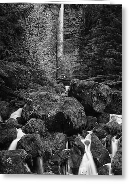 Black And White Waterfall Greeting Cards - Oregons Watson Falls Greeting Card by Andrew Soundarajan