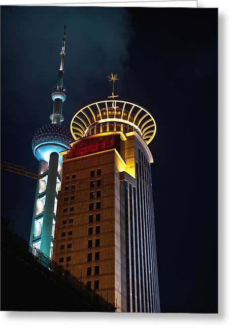 Office Buiding Greeting Cards - Oriental Pearl Tower In Shanghai China Greeting Card by Marek Poplawski
