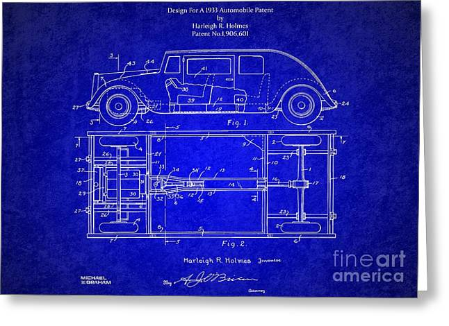 Historic Vehicle Mixed Media Greeting Cards - Original Harleigh Holmes Automobile Patent 1932 Greeting Card by Michael Braham