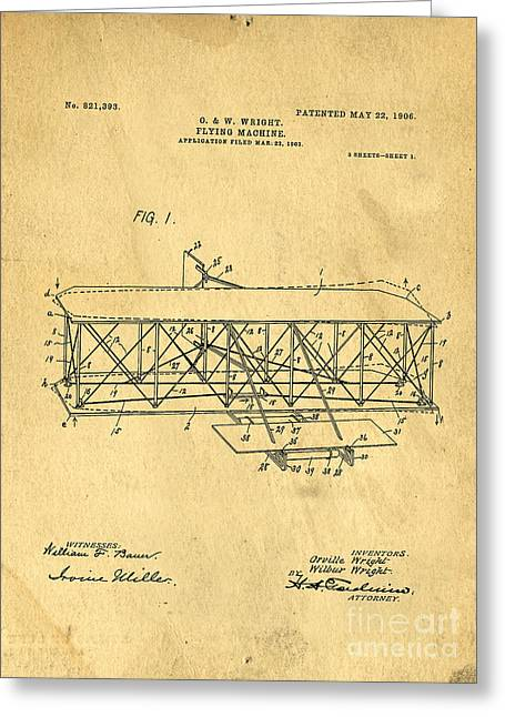 Invention Photographs Greeting Cards - Original Patent for Wright Flying Machine 1906 Greeting Card by Edward Fielding