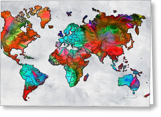 Europe Mixed Media Greeting Cards - Original Vibrant Colorful World Map PoP Art Style Painting by Megan Duncanson Greeting Card by Megan Duncanson