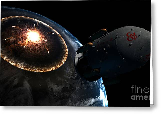 Journeys End Greeting Cards - Orion-drive Spacecraft Leaving Earth Greeting Card by Rhys Taylor