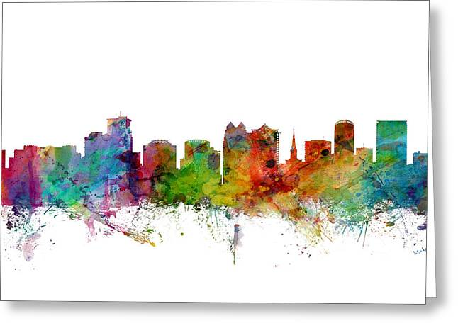 Orlando Greeting Cards - Orlando Florida Skyline Greeting Card by Michael Tompsett