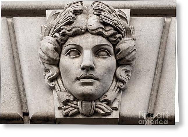 Stone Carving Greeting Cards - Ornamental Carved Stone Face - Washington DC Greeting Card by Gary Whitton