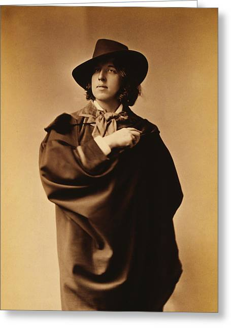 Author Greeting Cards - Oscar Wilde Greeting Card by Napoleon Sarony