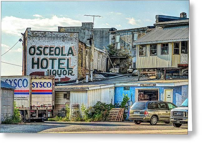 Mj Greeting Cards - Osceola Hotel Greeting Card by MJ Olsen