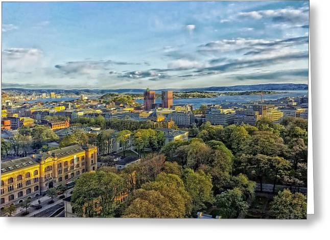 Oslo Photographs Greeting Cards - Oslo Norway Harbor View Greeting Card by Mountain Dreams