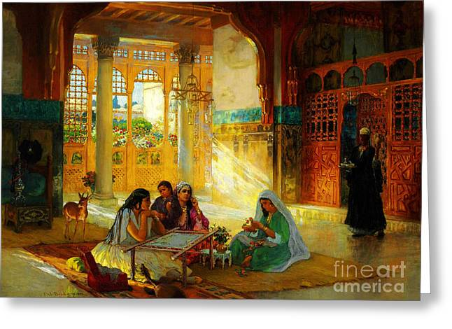 Sahara Sunlight Greeting Cards - Ottoman daily life scene Greeting Card by Celestial Images