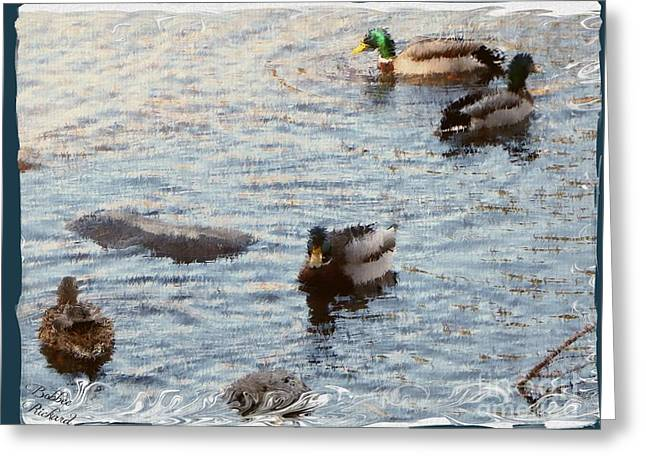 Matting Digital Greeting Cards - Out For a Swim Painting Greeting Card by Bobbee Rickard