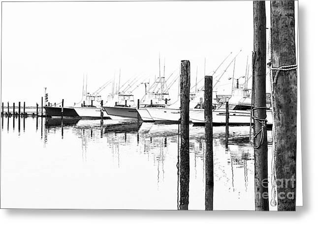 Dan Carmichael Digital Greeting Cards - Outer Banks Fishing Boats Sketch #1 Greeting Card by Dan Carmichael