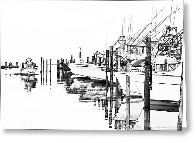 Fine Photographer Digital Greeting Cards - Outer Banks Fishing Boats Sketch #2 Greeting Card by Dan Carmichael