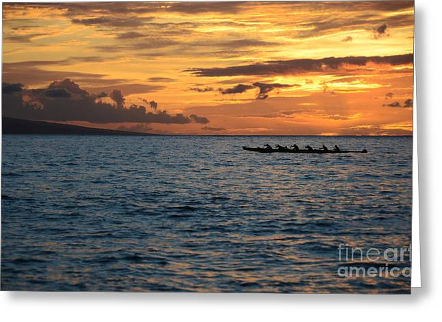 Lahaina Greeting Cards - Outrigger Sunset Greeting Card by Kelly Wade