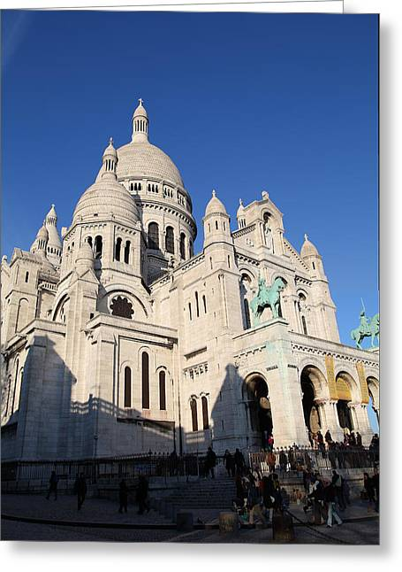 Mountains Photographs Greeting Cards - Outside the Basilica of the Sacred Heart of Paris - Sacre Coeur - Paris France - 01134 Greeting Card by DC Photographer
