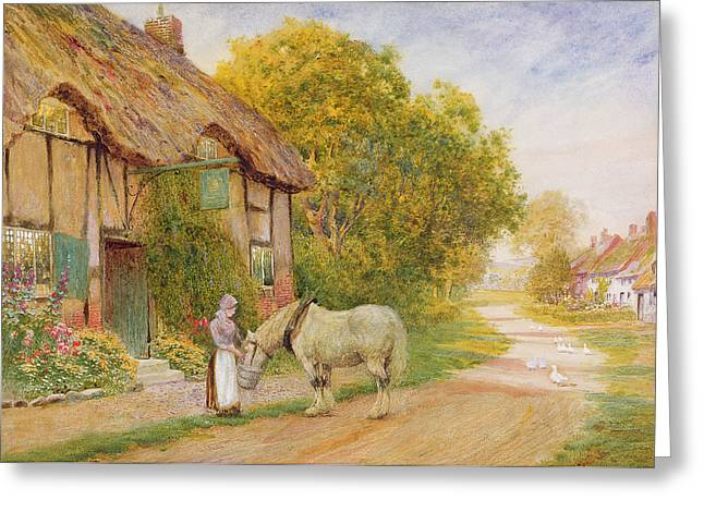 Outside The Village Inn Greeting Card by Arthur Claude Strachan